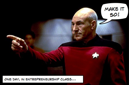 Captain Jean Luc Picard, from Star Trek: The Next Generation, of course.