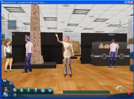 A 3D avatar exploring a virtual museum.