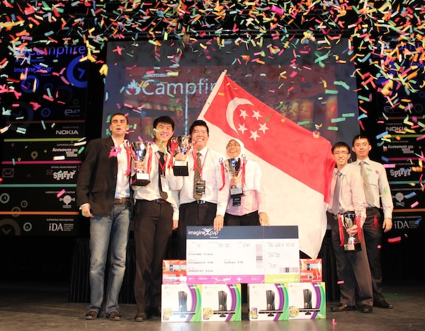 Team AlphaWaves from Nanyang Polytechnic celebrates their victory at the Microsoft Imagine Cup 2012, Singapore