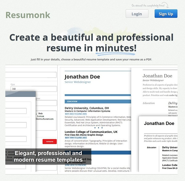 resumonk create beautify and share your cv in minutes young