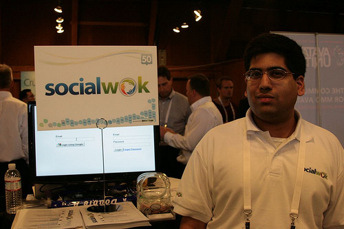 CTO Navin Kumar mans the SocialWok booth at TechCrunch50 Conference 2009.