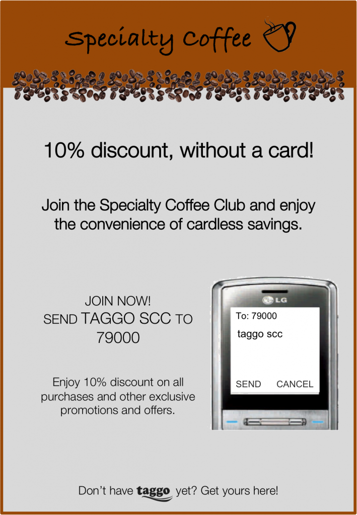 An example of a discount coupon used by a coffee chain employing Taggo.